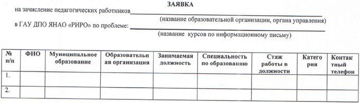 Заявка Летняя школа